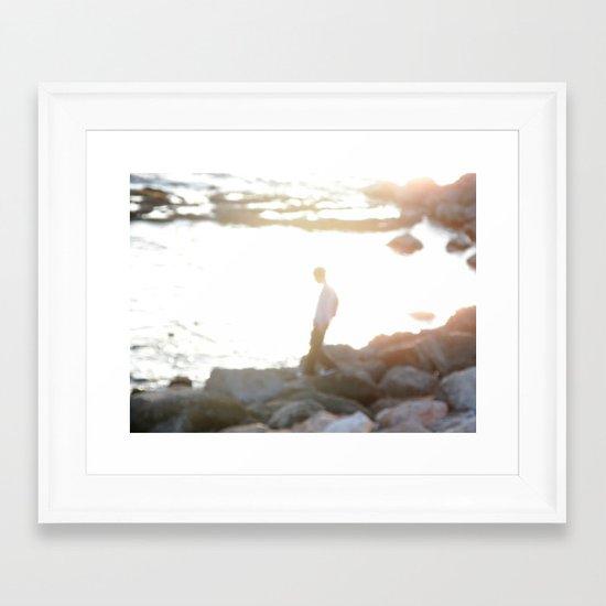 Walking on the beach Framed Art Print