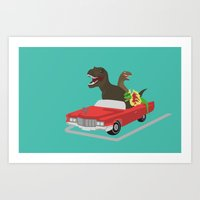 Jurassic Parking Only Art Print