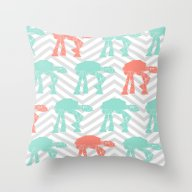 Turquoise And Coral AT-A… Throw Pillow