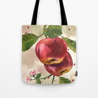 Apple painting, fruit paintings, watercolor apples, watercolour fruit print, garden lover gift,  Tote Bag