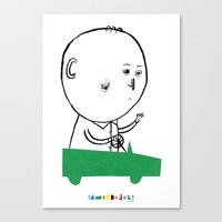A Man In A Car Canvas Print