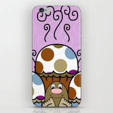 Cute Monster With Blue And Brown Polkadot Cupcakes iPhone & iPod Skin