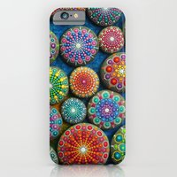 iPhone Cases featuring Mandala Stone Love Heart by Elspeth McLean