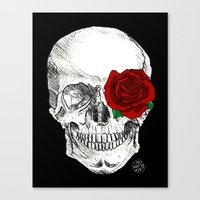 Rose Skull Black Canvas Print