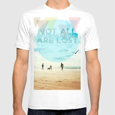 NOT ALL WHO WANDER ARE LOST Mens Fitted Tee SMALL White