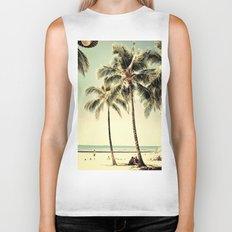 Retro Vintage Palm Tree with Hawaii Summer Sea Beach Biker Tank