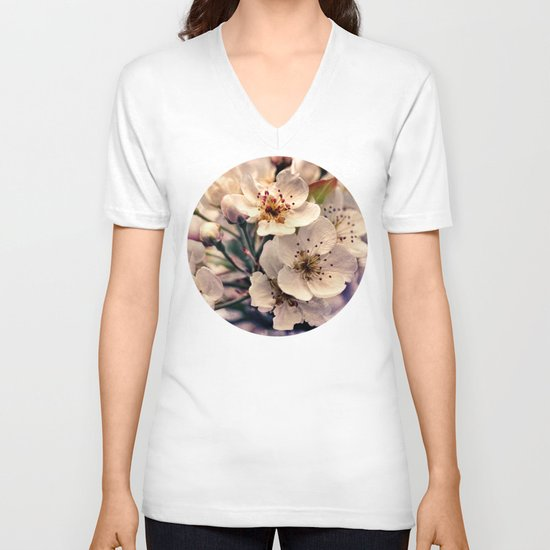 Blossoms at Dusk - vintage toned & textured macro photograph V-neck T-shirt
