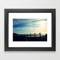 Gulls in a row Framed Art Print
