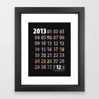 Minimalist Calendar 2013 (Dark version) Framed Art Print