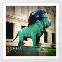 Blackhawks Helmet Sculpture Photo Art Print