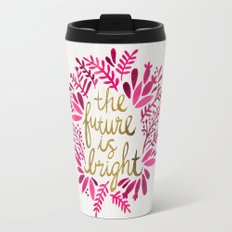 The Future is Bright – Pink & Gold Travel Mug