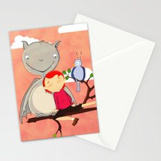 Friendly giant bat and girl digital illustration Stationery Cards