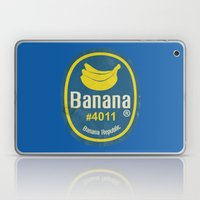 Banana Sticker On Blue Laptop & iPad Skin