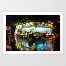 Hong Kong Cafe Blue Art Print