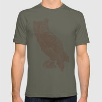 Wood Grain Owl Mens Fitted Tee Lieutenant SMALL