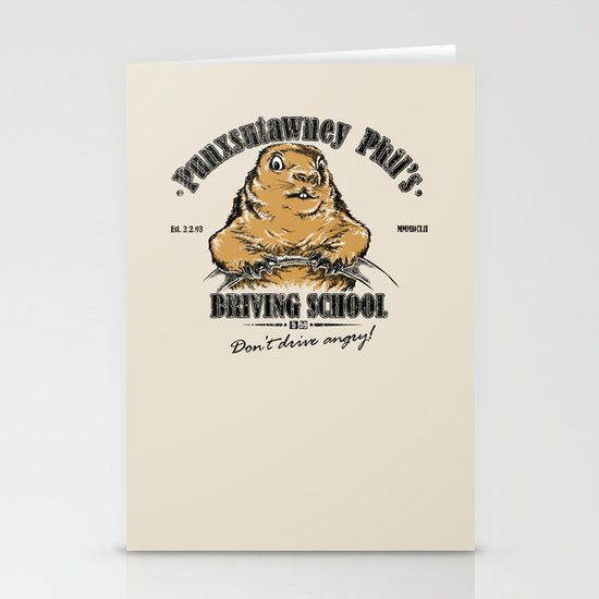 Punxsutawney Phil's Driving School Stationery Card
