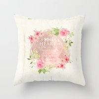 Typography A Mothers Heart Throw Pillow