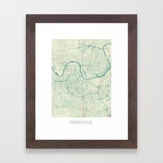 Nashville Map Blue Vintage Framed Art Print