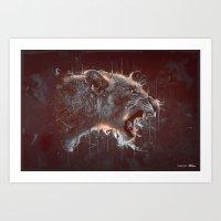 DARK LION Art Print