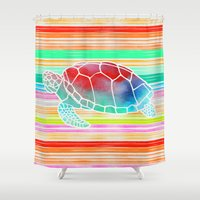 Turtle  By Jacqueline Ma… Shower Curtain