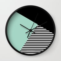 Mint Color Block with Stripes // www.penncilmeinstationery.com Wall Clock