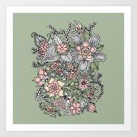 Modern Green Pink Floral… Art Print
