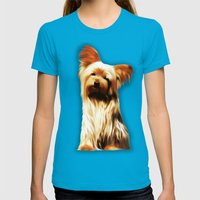 Yorkshire Puppy Tiny Dog Womens Fitted Tee Teal SMALL