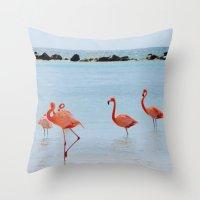 A Flamboyance of Flamingos Throw Pillow
