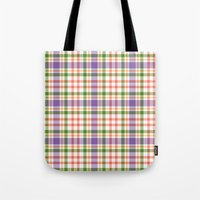 Plaid Purple And Orange Tote Bag