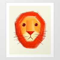 lion Art Prints featuring Sad lion by Lime