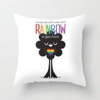Rainbow Heart Throw Pillow