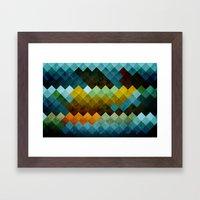 Abstract Cubes BYG Framed Art Print