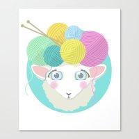 Sheepy Yarn Head Canvas Print