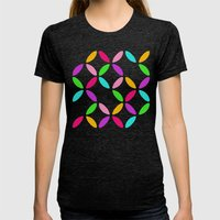 Colour Block Womens Fitted Tee Tri-Black SMALL