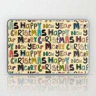 Cream Merry Christmas An… Laptop & iPad Skin