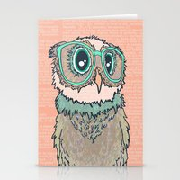Owl wearing glasses II Stationery Cards