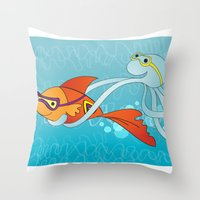 Goldfish & Octopus Throw Pillow