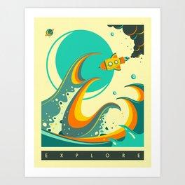 Art Print - EXPLORE - Jazzberry Blue