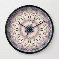 Rue des Glycines -- Vintage Cream and Lavender Purple Mandala Wall Clock