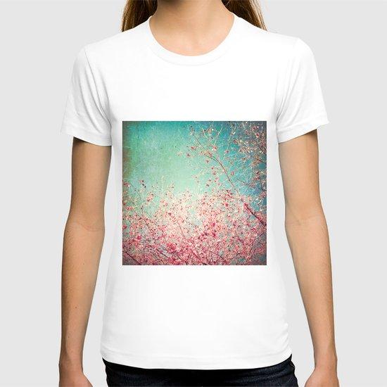 Blue Autumn, Pink leafs on blue, turquoise, green, aqua sky T-shirt