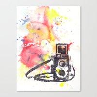 Vintage Rolleiflex Camera Painting Canvas Print