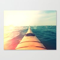 Yellow Kayak In Water Co… Canvas Print