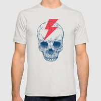 Skull Bolt Mens Fitted Tee Silver SMALL
