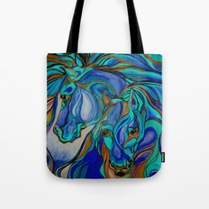Wild Horses In Brown and Teal Tote Bag