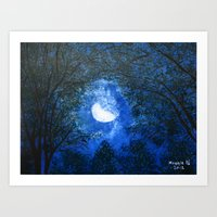 Trees In The Moonlight Art Print