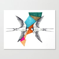 Swallows, geometric drawing Canvas Print