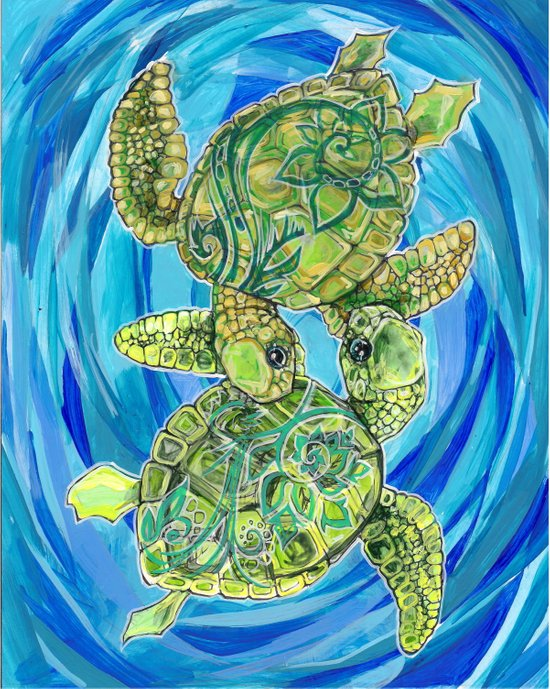 Sea turtle love Art Print