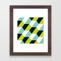 Lime green & turquoise hexagon pattern  Framed Art Print