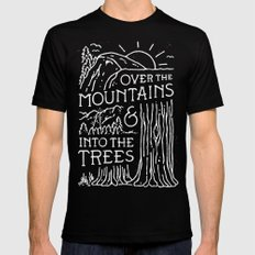 OVER THE MOUNTAINS (BW) Mens Fitted Tee Black SMALL