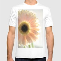 Salmon Gerbera Mens Fitted Tee White SMALL